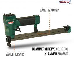 Klammerverktyg 80.16 SCL - Säkerhetsnos och Långt magasin